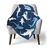 Fleece Baby Blanket Blue Cartoon Shark Print Smooth and Soft Receiving Blanket Unisex for Stroller, Crib, Newborns, Carseat 30x40