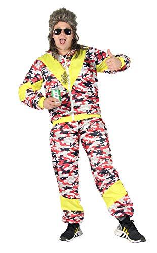 jaren '80 kostuum voor volwassenen trainingspak Assi camouflage rood geel S-XXXL maat M