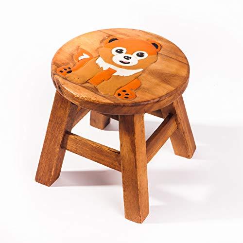 Kinderhocker, Schemel, Kinderstuhl massiv aus Holz mit Tiermotiv Hund 2, 25 cm Sitzhöhe für unsere Kindersitzgruppe