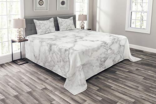 ABAKUHAUS Marmor Tagesdecke Set, Granit Natur Spots, Set mit Kissenbezügen Waschbar, für Doppelbetten 220 x 220 cm, Hellgrau Sand
