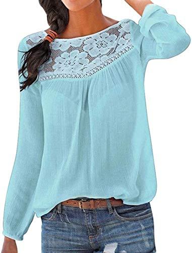 Lauriney Ropa De Mujer Mujeres Langearmshirt Spitzetops Elegante De Solución Remiendo Cómodo Vida de la Moda Suéter Tapas Ocasionales Blusas Otoño (Color : Blau, One Size : S)