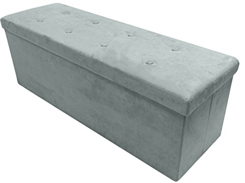 Sorbus Storage Ottoman Bench – Collapsible/Folding Bench Chest with Cover – Perfect Toy and Shoe Chest, Hope Chest, Pouffe Ottoman, Seat, Foot Rest, – Contemporary Faux Suede (Gray)