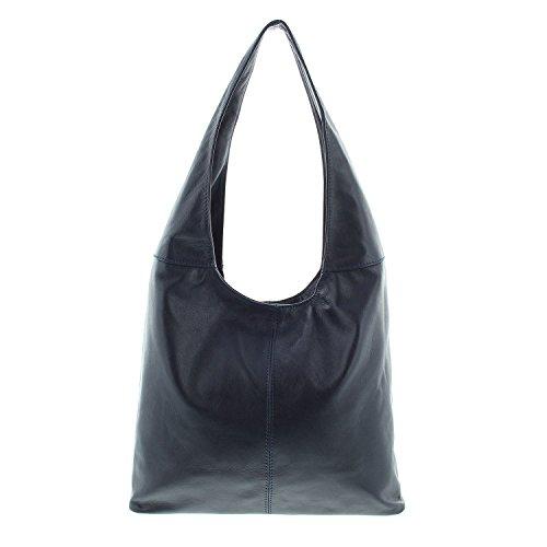 IO.IO.MIO Damen Tasche Ledertasche echt Nappa Leder Handtasche Umhängetasche Shopper Schultertasche Frauen Taschen Handtaschen Beuteltasche mittelgroß lässiges Design dunkel blau