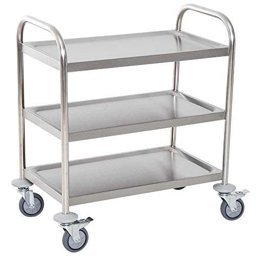 HOMCOM Stainless Steel 3 Tier Rolling Kitchen Service Cart Catering Storage Trolley Island Utility with Locking Wheels for Hotels Restaurants 70.5L x 40.5D x 81H (cm)