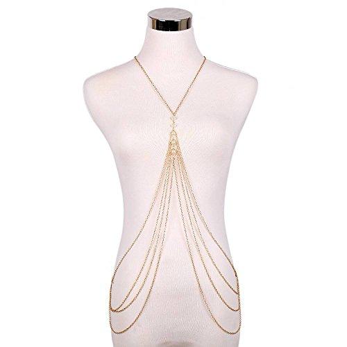 HOX Hypoallergene Fashion Trend Speed Verkoop Sieraden Mode Overdreven Multi-Layer Tassel Parel Body Chain Ketting Sieraden, goud