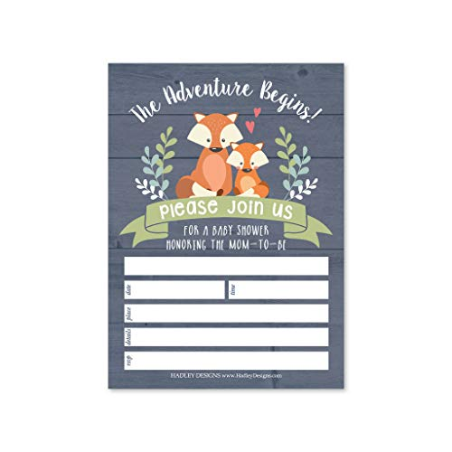 25 Fox Baby Shower Invitations, Sprinkle Invite For Boy or Girl, Coed Rustic Gender Reveal Neutral Theme, Cute Wild Woodland Fill or Write In Blank Printable Card, Animal Adventure Party DIY Supplies
