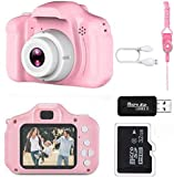 Nynicorny Kids Camera, Children Digital Rechargeable Cameras Toddler Educational Toys, Mini Children Video Record Camera with 1080P HD 2 Inch Screen & 32GB SD Card for Birthday (Pale Pink)…