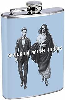 Walken Jesus Hip Flask Stainless Steel 8 Oz Silver Drinking Whiskey Spirits R1