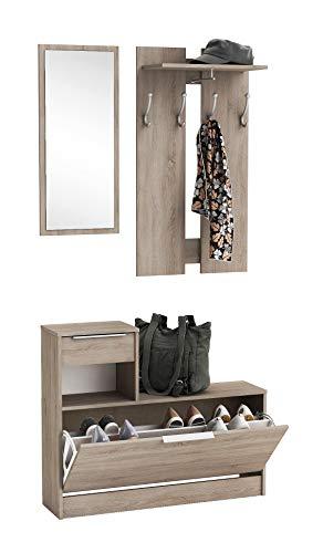 Mueble Recibidor vintage vestidor con Zapatero abatible Color Roble con Espejo. para Entrada, Pasillo o Dormitorio. 200x92cm