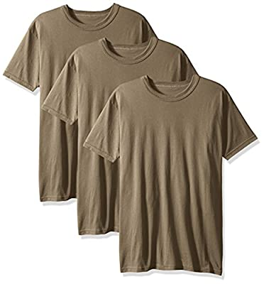 Soffe Men's 3 Pack-USA Poly Cotton Military Tee, Tan, Large