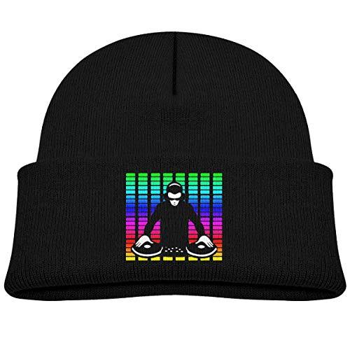 Bambin Bonnet DJ Rock Disco Musique Bébé Garçon Fille Casquette Slouchy Coton Enfant Chaud Crâne Chapeau en Tricot Noir