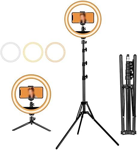 YQLWX Muqingyun Lampada ad Anello LED a 8 Pollici ad Anello con Supporto treppiede 3 modalità Luce dimmerabile Selfie Ring Light per la Fotografia Video per Il Trucco dal Vivo Trucco