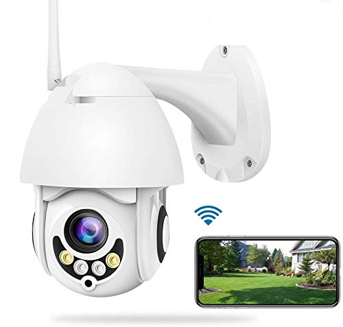 Camara IP WiFi Exterior Vigilancia Pan/Tilt Visión Nocturna Detección de Movimiento Monitorización Remota vía Smartphone/Tableta