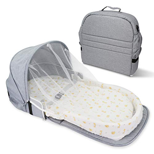 Surpcos 4 in 1 Portable Bassinet New Upgraded Foldable Baby Bed Infant Sleeper with Awning and Mosquito Net Cartoon Doodle