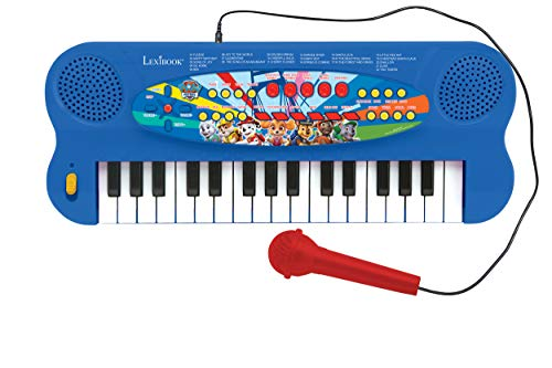 Lexibook K703PA Paw Patrol Elektronisches Keyboard, 32-Tasten-Piano, Mikrofon zum Singen, 22 Demo-Songs, Batteriebetrieb, Blau/Rot