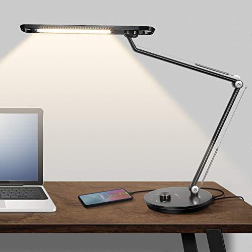 Schwenkarm Schreibtischlampe mit USB Ladestecker, YUNLIGHTS Berührungssteuerung Dimmbar Nachttisch Leselampe, Metall Tischlampe mit Timer, 12W Schwarze Bürolampe