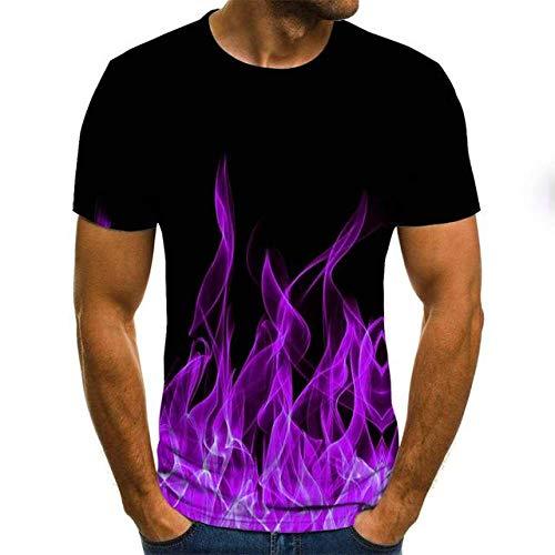 JKFDH 3D T-Shirt,Kreative Rundhalsausschnitt Kurzarm Tops Neuheit Flame of Life Print Schwarz Lässig Atmungsaktive Streetwear Für Frauen Mann Indoor Outdoor Sport, Lila, XXL