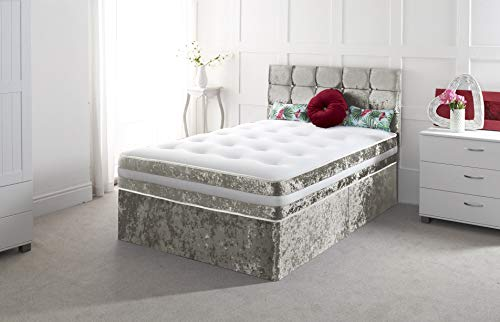 Crushed Velvet 3FT Single Divan Bed with Mattress Free HEADBOARD and Storage Drawers Available (3FT 2 Drawer, Silver Crush)