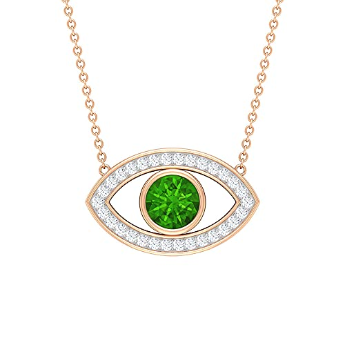 Collar con colgante de ojo único de 1,25 quilates con bisel creado tsavorita y moissanitas (6 mm de forma redonda creada) verde