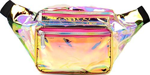 SoJourner Holographic Rave Fanny Pack - Packs for festival women, men   Cute Fashion Waist Bag Belt Bags (Gold & Pink Transparent)