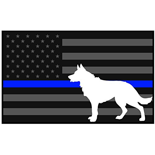 5x3 Inch Reflective Decal K9 Tactical Police Law Enforcement Thin Blue Line United States Sticker