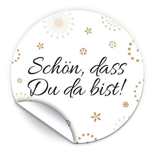100 Aufkleber SCHÖN, DASS DU DA BIST Etiketten für Gastgeschenke BZW. Mitgebsel bei Hochzeit Taufe Geburtstag Jubiläum (4,5 cm rund)