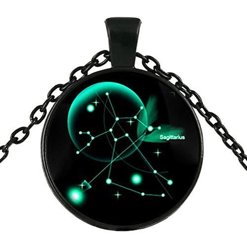DELEY Vintage Negro Largo de la Cadena de Estrella de 12 Constelación de Vidrio Cabochon Cúpula Joya Colgante de Collar