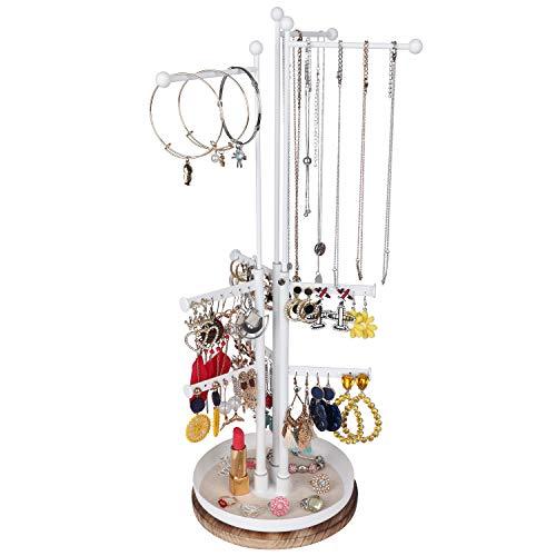Organizador giratorio de la torre de la joyería: organizador del soporte del árbol de la joyería con 9 niveles de altura ajustable exhibición de ramas para collar, pulsera pendiente y anillo (blanco)