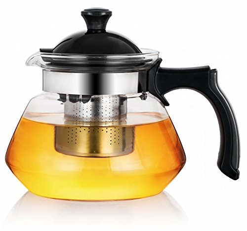 OGKitchen Glass Teapot w/Infuser – 34oz Stovetop Safe Borosilicate Tea Pot – Plastic Handle & Stainless Filter for Blooming & Loose Leaf Tea – With Microfiber Cloth & Coaster– Maker Brewer & Steeper