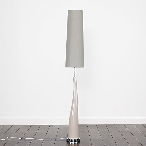 Modern Gloss Grey Ceramic & Silver Chrome Retro Style Floor Lamp - Complete with a 10w LED GLS Bulb [3000K Warm White]