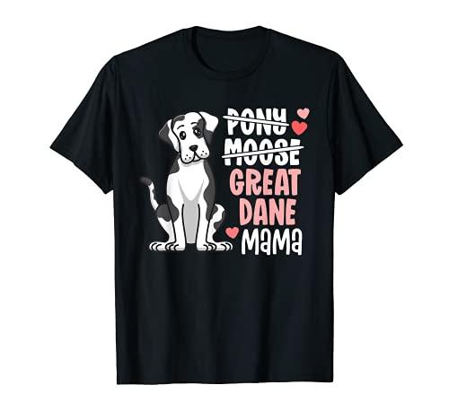 Funny Harlequin Great Dane Mama Pony Moose Dog Mom Camiseta