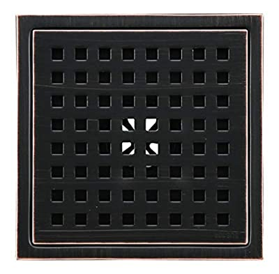 6-inch Shower Drain, Square Floor Drain with Tile Insert Grate Removable, Multipurpose Hair Trap, Invisible Look or Flat Cover, SUS304 Stainless Steel, Oil Rubbed Bronze