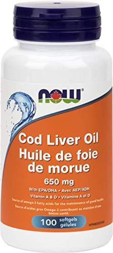 NOW Cod Liver Oil Double Strength VIT A&D 100 Softgels, 50 g