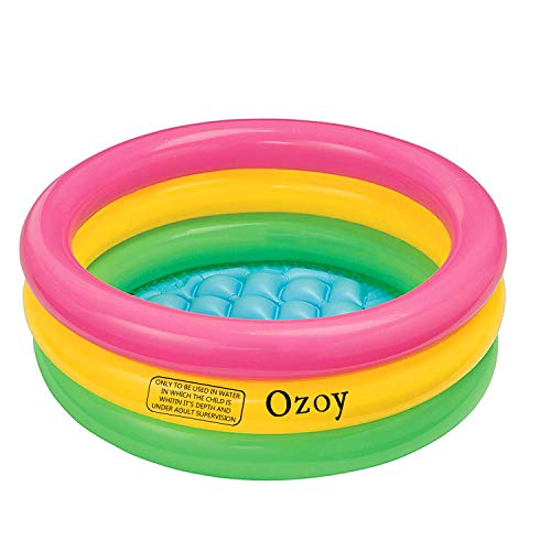 Ozoy Inflatable Baby Pool Bath Water Tub with Pump for Kids (3 feet) 0-3 Years (Multi Colour)