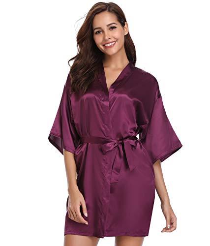 Vlazom Kimono Mujer Satén Cortos Albornoz Ropa de Dormir Batas Mujer Pijamas S-XXL