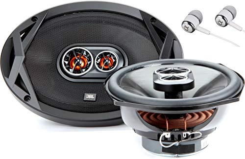 JBL Club 9630 480 Peak Power 6x9 3 ohm Club Series 3-Way UV-Resistant Polypropylene Woofers Coaxial Car Audio Stereo Speakers Grilles Included Bundled with Alphasonik Earbuds