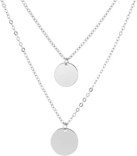 CHOA Gold Silver Coin Round Pendant 2 Layers Necklace for Women