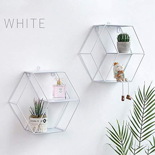 Mensola a sospensione esagonale, in ferro, alla moda, da appendere alla parete, decorativa, per soggiorno bianco