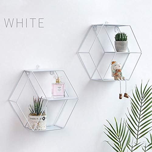 Hete-supply Nordic Line Hexagon Eisen Wanddekoration Wandregal Einfache Schmiedeeisen Hexagonal Wohnzimmer Schlafzimmer Lagerung Finishing Rack