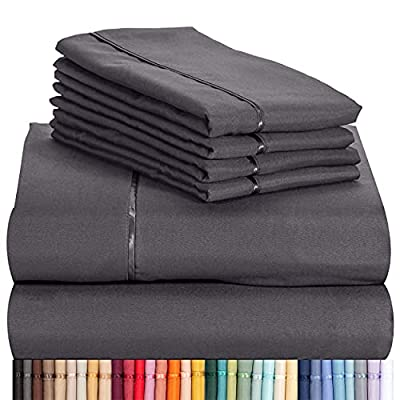 """LuxClub 6 PC Sheet Set Bamboo Sheets Deep Pockets 18"""" Eco Friendly Wrinkle Free Sheets Hypoallergenic Anti-Bacteria Machine Washable Hotel Bedding Silky Soft - Dark Grey King"""