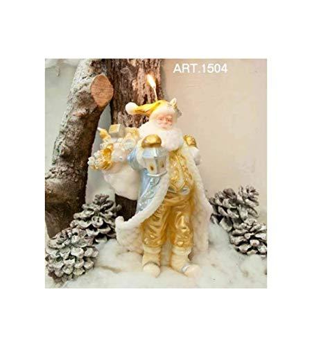1504 Candele Natalizi Artigianale Forma Babbo Natale Con Sacco Regali Grande Oro E Argento Altezza 30Cm Diametro 21Cm Da 2 Pezzi