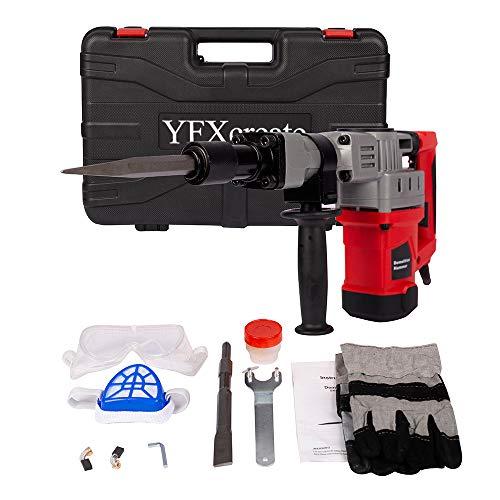 YFXcreate Hammer Drills 3800BPM Demolition Electric Jack Hammer Concrete Breaker Trigger Lock for Drilling Wood Steel Concrete