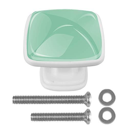 [4 piezas] pomos de cristal para aparador, pomos de cajón, tiradores de armario para el hogar, cocina, armario, armario, color verde claro puro