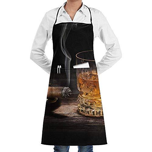 Schort Gelukkig Whiskey Sigarkok Koken Aprons Volwassen Bbq Keuken Bib Met Zakken Grill Restaurant Bakken Crafting Tuinieren Mannen Polyester Verstelbare Lange Volledige Zwart Unisex