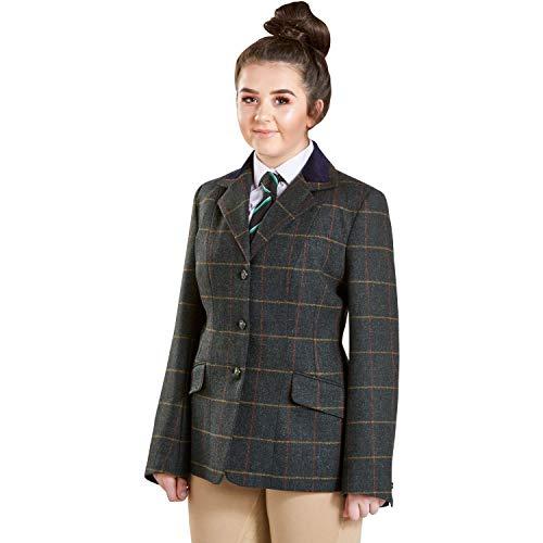 Firefoot Fewston Standard Collar Womens Tweed Jackets 40 inch Green Check