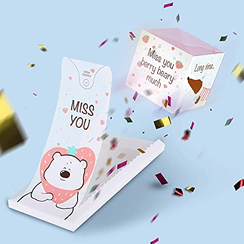 «BOOM» Miss you card - berry bearry much, surprise exploding confetti pop up card from envelope for women,man, best friend, her him, funny greeting card