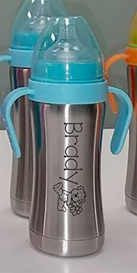 Personalized Thermal Insulated Baby Bottle in Blue with Teddy Bear aepwa71071