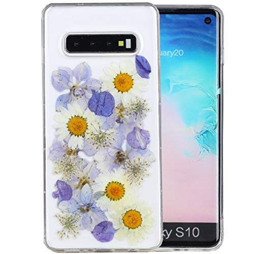 Galaxy S10 Case, iYCK Handmade [Real Dried Flower and Leaf Embedded] Pressed Floral Flexible Soft Rubber Gel TPU Protective Shell Bumper Back Case Cover for Samsung Galaxy S10 - Purple White Flower