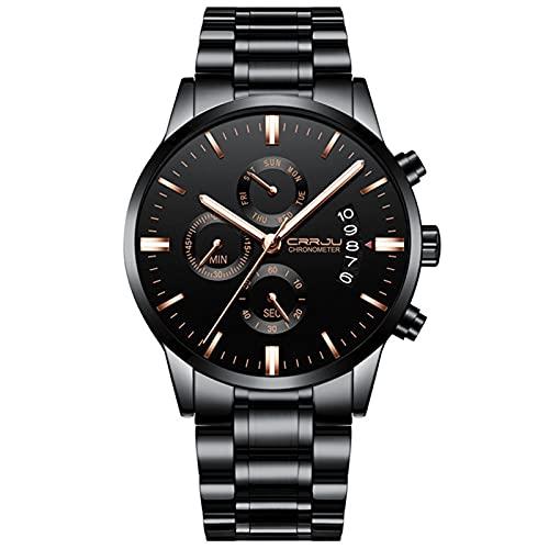 Reloj de pulsera para hombre con cronógrafo, de acero inoxidable, resistente al agua, reloj de diseño, analógico, con fecha, reloj de negocios para hombre