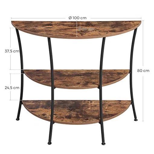 Schlafzimmer einfacher Aufbau Beistelltisch Industrie-Design dunkelbraun LNT87BX Metall halbrund Sideboard mit 3 Ablagen Vintage Flur VASAGLE Konsolentisch Wohnzimmer